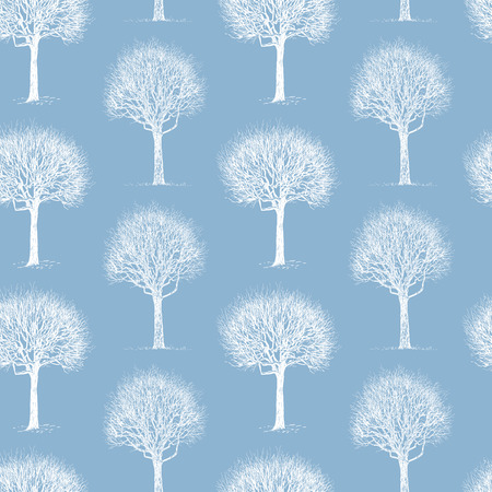 Vector background  with a silhouettes of winter trees.