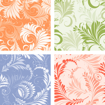 Vector patterns of decorative plant.