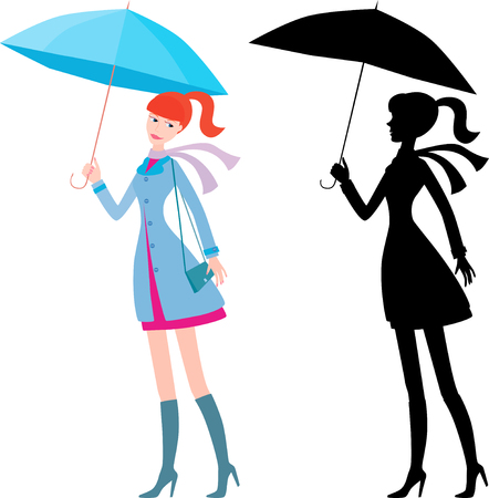The vector image of a redheaded girl with a  blue umbrella. Illustration