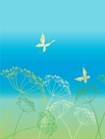 The vector image of the meadow grass and two butterflies. Illustration