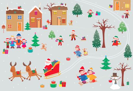 村のクリスマスの時期のベクター画像。