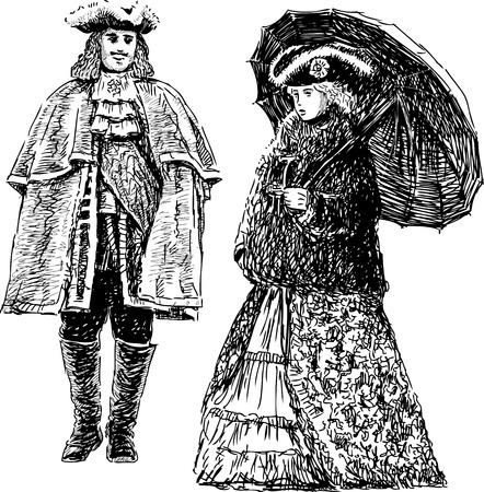 Vector drawing of the couple in the historical theatrical suits.