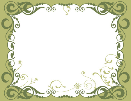 The vector image of a decorative frame with the curls and blots.