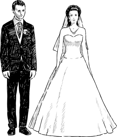 Vector drawing of the happy bride and groom. Ilustração
