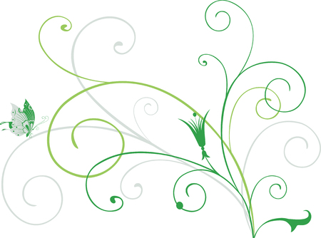 The vector image of a decorative floral twig.