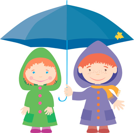 cowl: The vector image of the small kids under an umbrella. Illustration