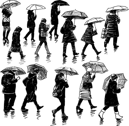 Vector sketches of the townspeople in the rain.
