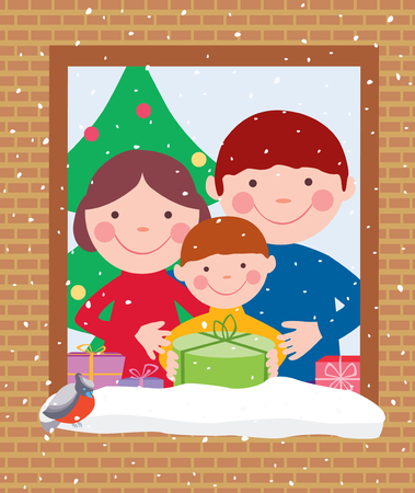 humorous: Vector image of the family at home in the christmas eve.