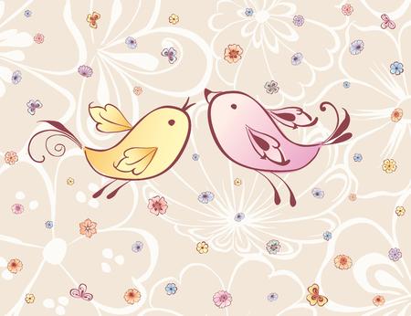De vector kaart van de decoratieve vogels en bloemen.