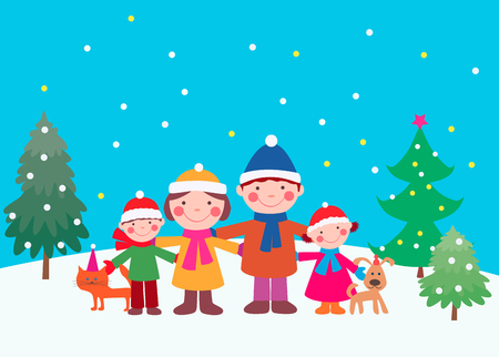 The vector image of a merry family in a New Years eve.