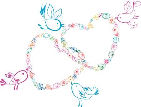 愛の鳥の図面のベクトル。