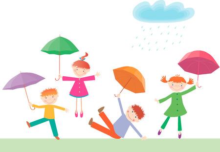 L'image vectorielle de quatre petits enfants joyeux avec des parapluies.