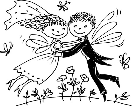 Vector illustration of the happy elves newlyweds.