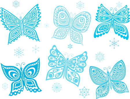 The vector image of the five frozing decorative butterflies. Illustration