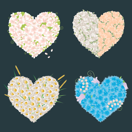 The vector image of the decorative floral hearts. Illustration