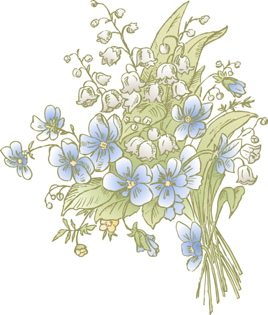 The vector drawing of the spring bouquet.