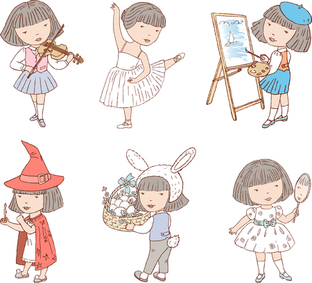 Vector drawings about the life of one little girl. 版權商用圖片 - 80535397