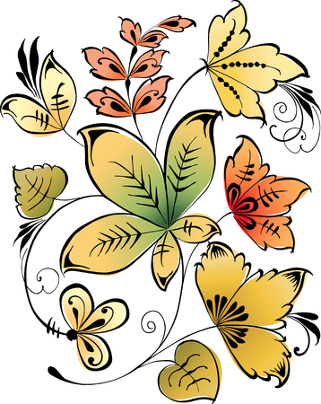 The vector image of a floral composition of the decorative leaves.