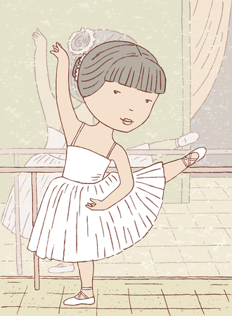 reflection in mirror: Vector drawing of a small ballerina in class.