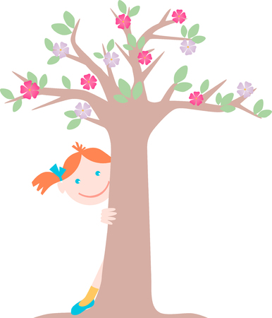 The vector image of a small girl playing hide and seek.