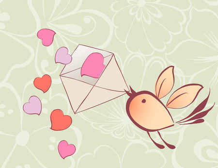 Vector card of the flying bird with a love message.