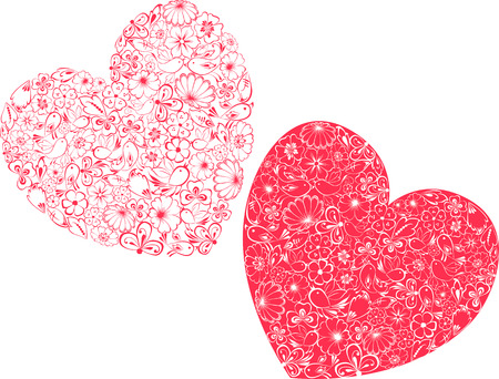 petal: The vector image of the floral decorative hearts.