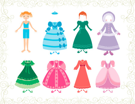 The vector image of a little princess with her clothes.