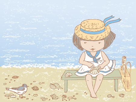 seacoast: The vector drawing of a little girl on seacoast.