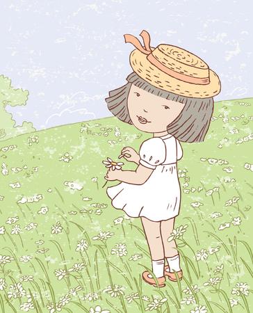 De vector tekening van een klein meisje op een zomerweide.