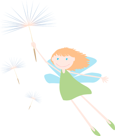 The vector image of a cheerful elf flying on a dandelion seed.