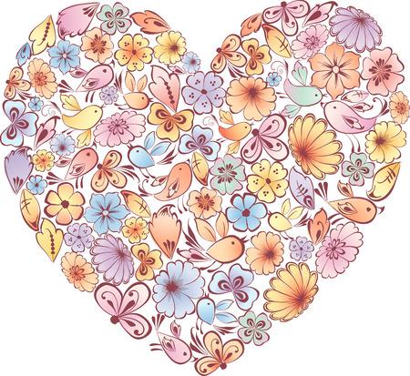 花や鳥の心のベクトル画像。