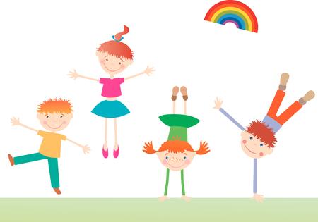 L'image vectorielle des enfants heureux et actifs.