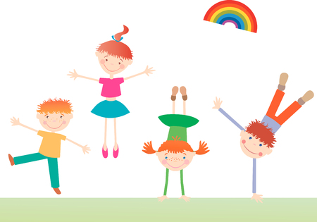 The vector image of the happy active kids.