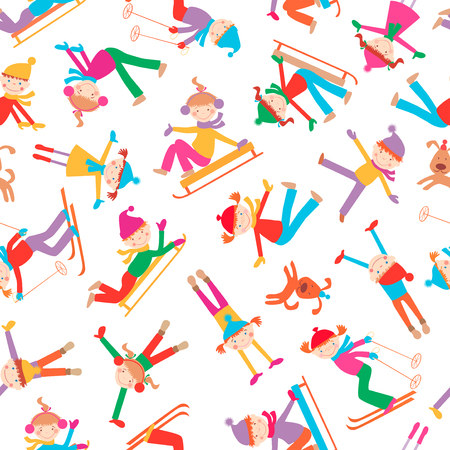 dog: Vector pattern of the cheerful playful kids in the winter.