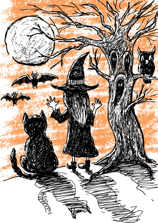 conjuring: Vector drawing of a witch with her black cat in the Halloween night. Illustration