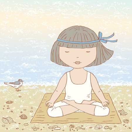 concord: Vector drawing of a little girl doing yoga on the seacoast. Illustration