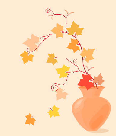 The vector image of a flexible autumn branch in a vase.