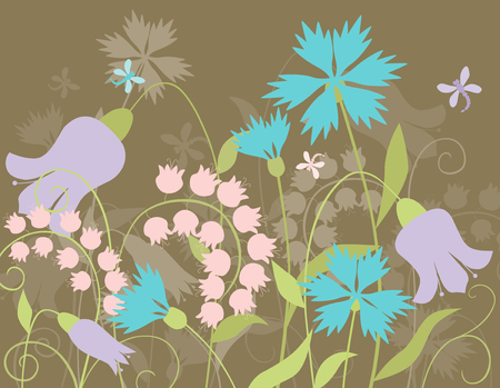 The vecor image of the different wild flowers.