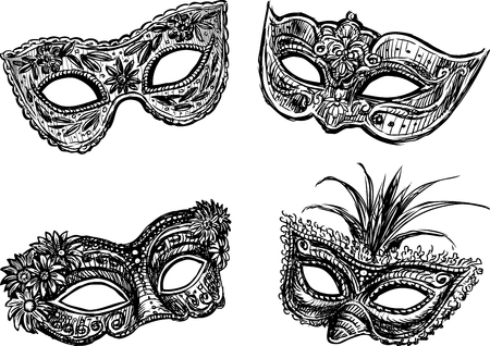 comedy: Vector drawing of the different carnival masks.