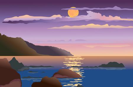 Vector image of a night seascape. Ilustrace