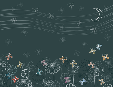 Vector background with the decorative flowers and the butterflies