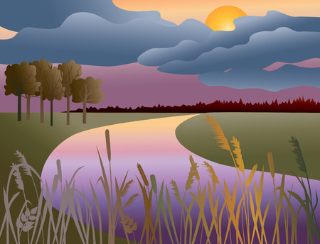 The vector image of a moonlit night on the riverside.