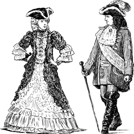 The vector drawing of the people in the historical costumes of the 18th century.