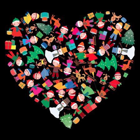 The vector image of a  decorative heart with chherful children and gifts.