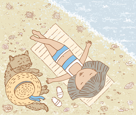 asleep: Vector drawing a little girl with her cat on the beach. Illustration