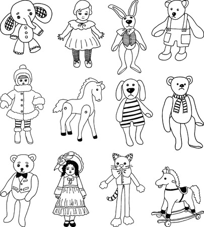 Vector drawings of the different old toys. Ilustrace