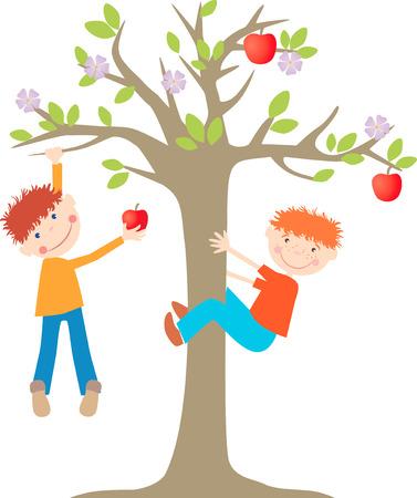Het vectorbeeld van de kleine jongens op de appelboom.