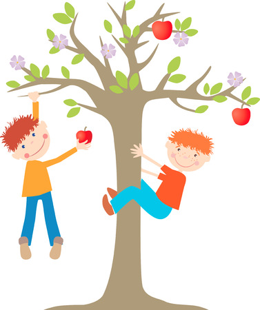 The vector image of the little boys on the apple tree.