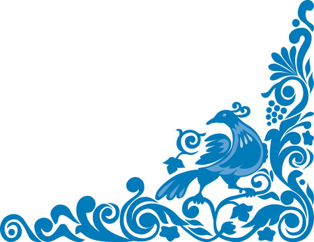 The vector image of a floral ornament with a decorative bird.