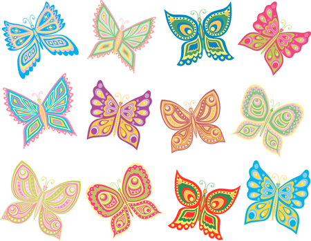 The vector image of twelve decorative butterflies.